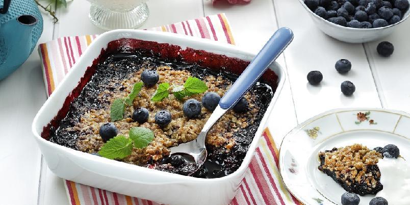 Smuldrepai med frosne blåbær - Perfekt på en varm sommerdag...