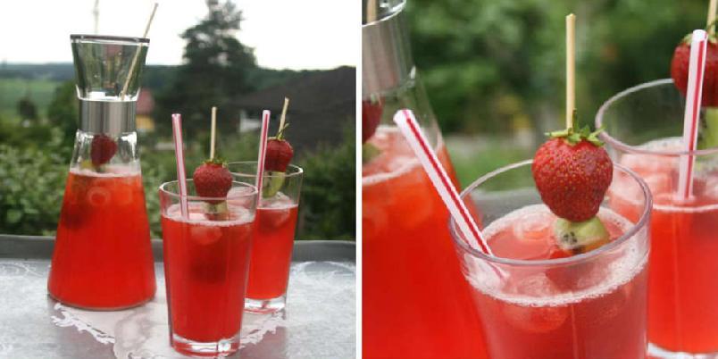 Jordbærlimonade - Søt, frisk og sommerlig jordbærlimonade.