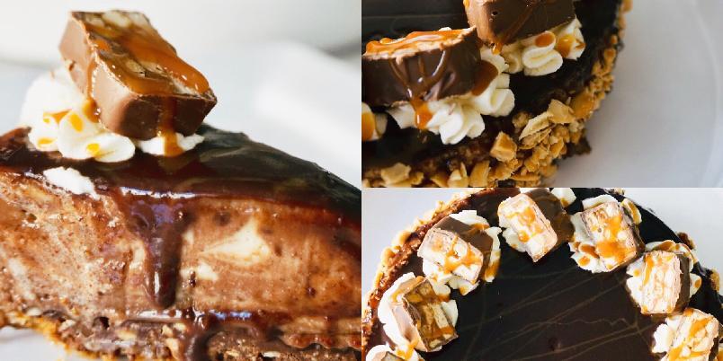 Snickers-ostekake - Hvem liker ikke salte peanøtter, sjokolade og salt karamell i én og samme kake?!